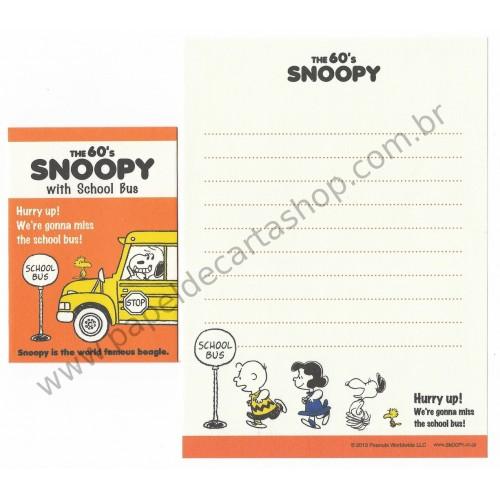 Kit 2 Conjuntos Mini Papel de Carta The 60's Snoopy With School Bus