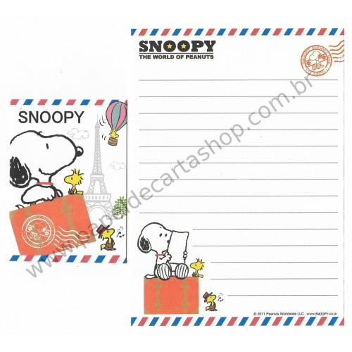 Kit 2 Conjuntos de Mini-Papel de Carta SNOOPY Mail Peanuts
