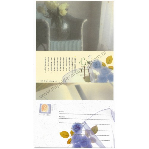 Conjunto de Papel de Carta Antigo Importado Miss You Yogi LS1005-1