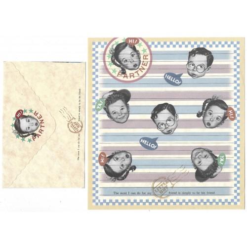 Conjunto de Papel de Carta Antigo Importado Little Boy P1013