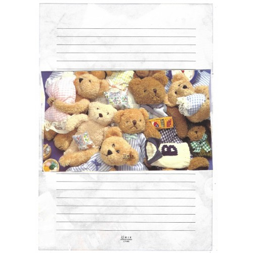 Conjunto de Papel de Carta Importado Bears MIK LT-362