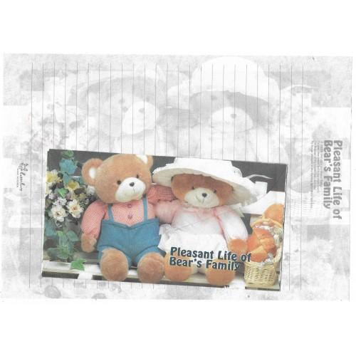 Conjunto de Papel de Carta Importado Bear's Family 3 Litte Fancy