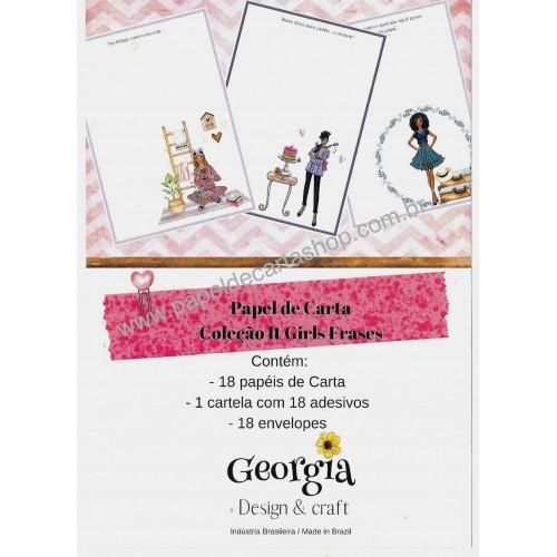 Coleção de Papéis de Carta com Envelopes IT GIRLS FRASES