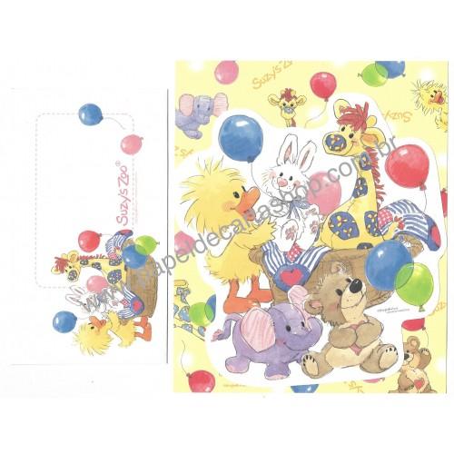 Ano 2009. Conjunto de Papel de Carta IMPORTADO Suzy's Zoo CAM