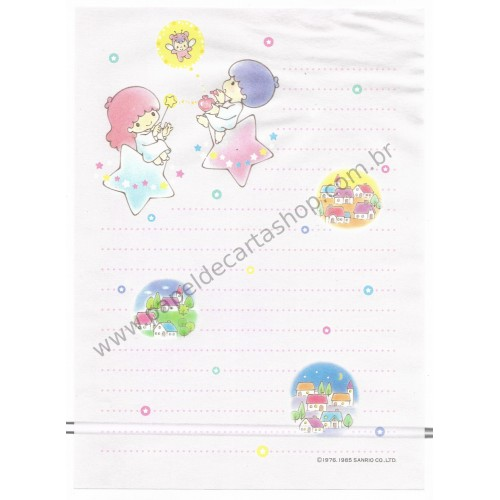 Ano 1985. Papel de Carta Little Twin Stars Star CRS Vintage Sanrio
