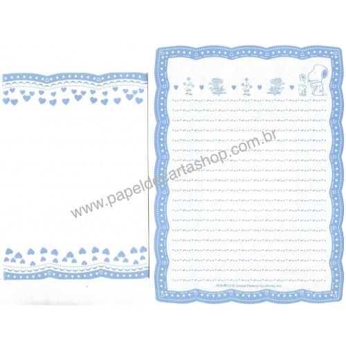 Conjunto de Papel de Carta S&W BLUE Vintage Hallmark Japan