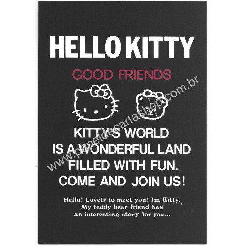 Ano 1987. Papel de Carta Hello Kitty CBLG Vintage Sanrio