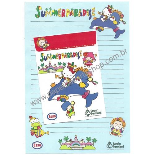 Ano 1992 Conjunto de Papel de Carta Hello Kitty Summer Paradise Sanrio