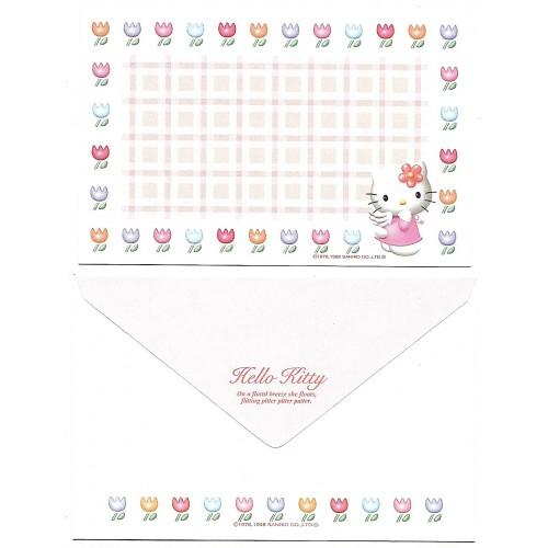 Ano 1998. Conjunto de Mini-Papel de Carta Hello Kitty Tulips Sanrio