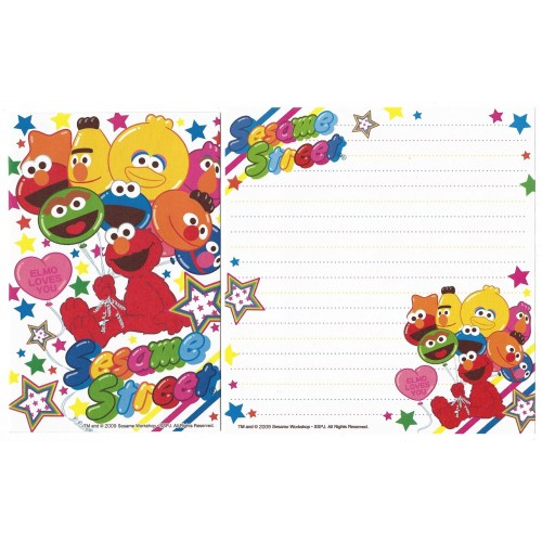Ano 2009. Kit 4 Conjuntos de Papel de Carta Sesame Street Loves You