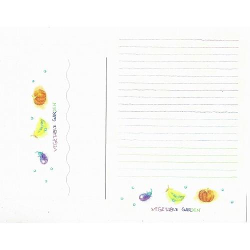 Ano 1984. Conjunto de Papel de Carta Vegetable Garden Sanrio