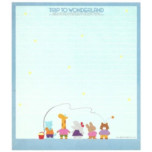 Ano 1979. Papel de Carta AVULSO Trip to Wonderland Blue Vintage Sanrio