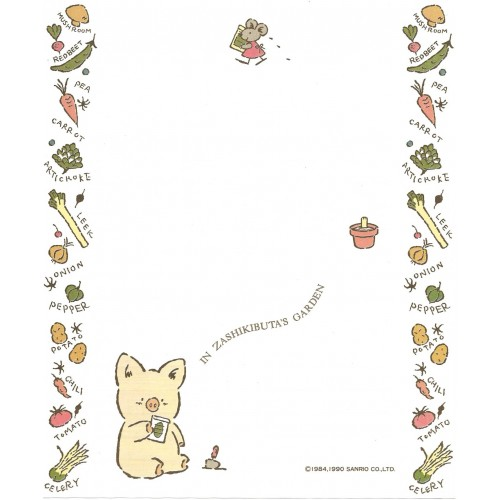 Ano 1990. Papéis de Carta Zashikibuta CBR Vintage Sanrio