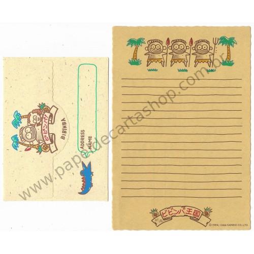 Ano 1986. Conjunto de Papel de Carta Antigo Vintage Bibinba Sanrio