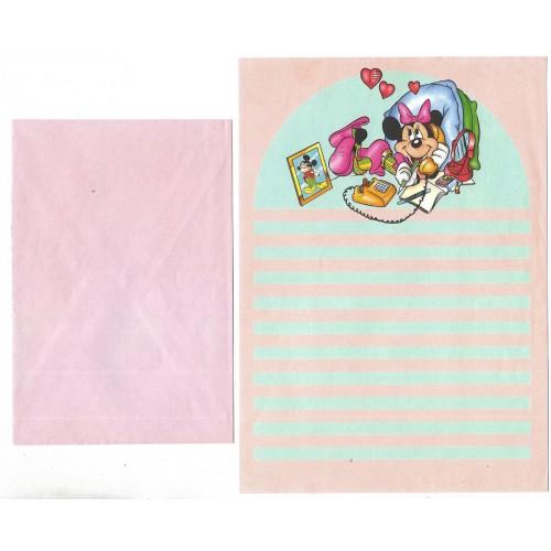 Conjunto de Papel de Carta ANTIGO Minnie Mouse Disney
