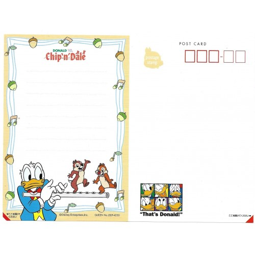 Postcard Donald Vs Chip'n'Dale TOKYO DISNEYLAND