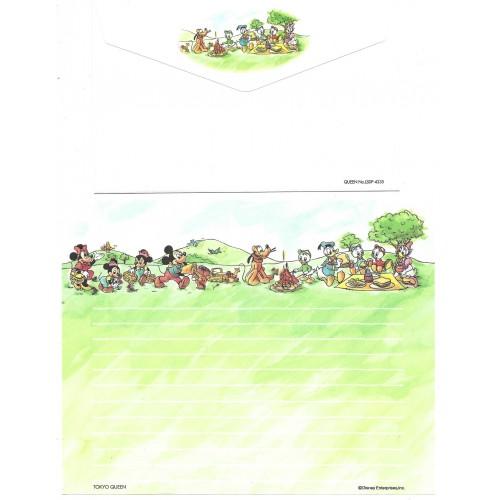 Conjunto de Papel de Carta ANTIGO Mickey and Joyful Pals PICNIC