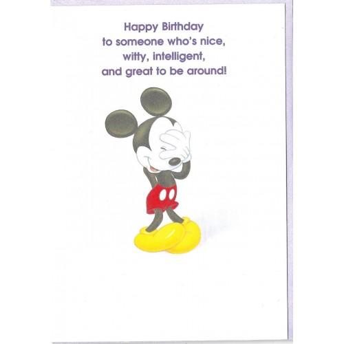 Notecard Importado Mickey Mouse Happy Birthday GIBSON