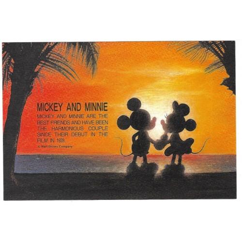 Postcard Antigo Vintage Disney Mickey & Minnie SUNSET LYRIC JAPAN