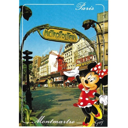 Postcard Antigo Vintage Disney Paris MONTMARTRE