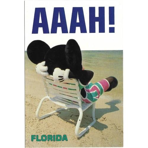 Postcard Antigo Vintage Disney Mickey Relaxing in Florida