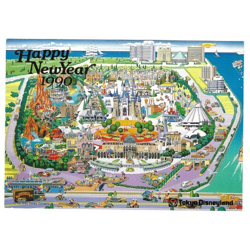 Postcard Antigo Vintage Disney Happy New Year 1990 TOKYO Disneyland