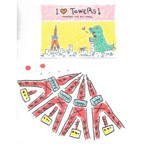 Ano 1984. Conjunto de Papel de Carta I Love Towers Sanrio