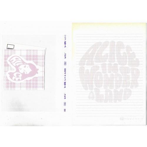 Conjunto de Papel de Carta VINTAGE Disney Alice in Wonderland ROSA