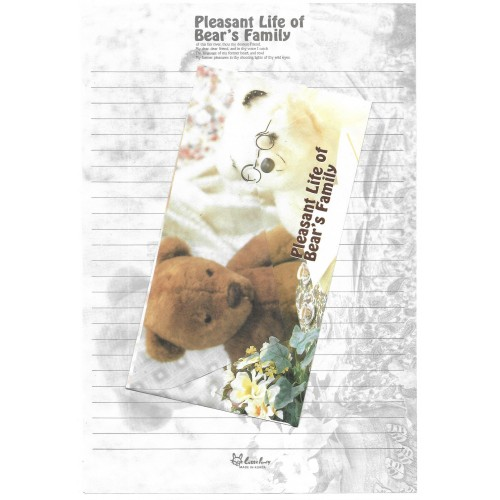 Conjunto de Papel de Carta Importado Bear's Family 6 Litte Fancy