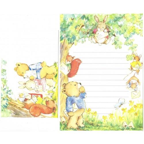 Conjunto de Papel de Carta Antigo Importado Bunnies