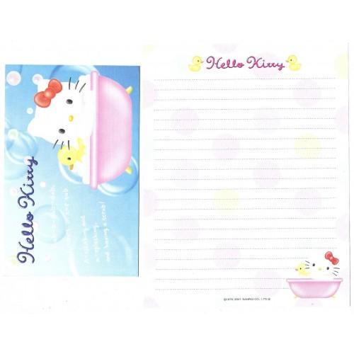 Ano 2001 Conjunto de Papel de Carta Hello Kitty In the Tub Sanrio