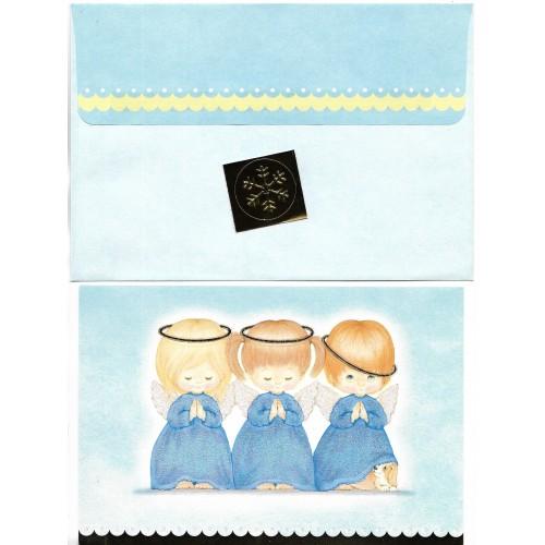 Notecard Antigo Importado Ruth Morehead Angels G Blue Hallmark