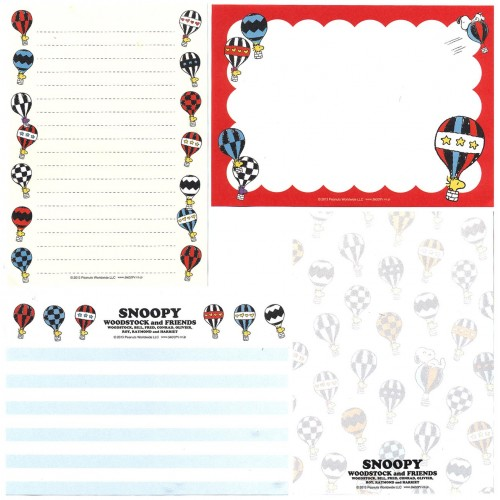 Ano 2013. Kit 4 Notas SNOOPY Balloon PENAUTS JAPAN