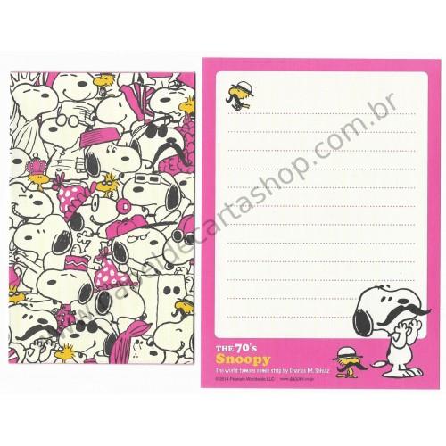 Kit 2 Conjuntos de Mini-Papéis de Carta 70's Snoopy Peanuts