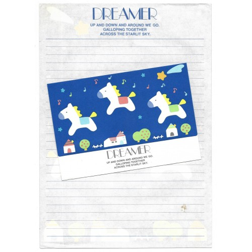 Ano 1977. Conjunto de Papel de Carta Avulso Dreamer Vintage Sanrio