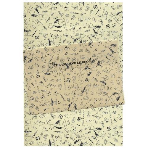 Ano 1987. Conjunto de Papel de Carta Vaudeville Duo CBG Vintage Sanrio