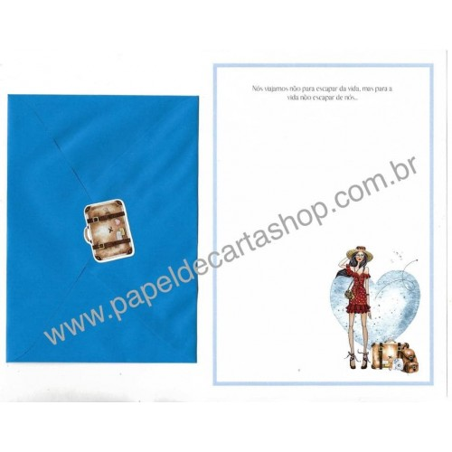 Conjunto de Papel de Carta com Envelope IT GIRLS FRASES - BRIGITTE
