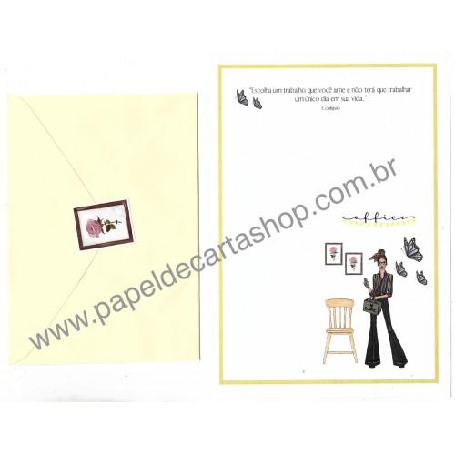 Conjunto de Papel de Carta com Envelope IT GIRLS FRASES - BEL