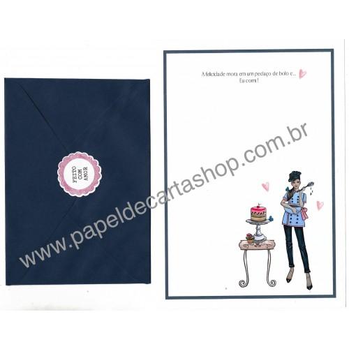 Conjunto de Papel de Carta com Envelope IT GIRLS FRASES - BIA
