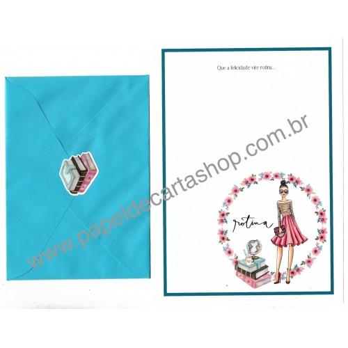 Conjunto de Papel de Carta com Envelope IT GIRLS FRASES - DAYSE