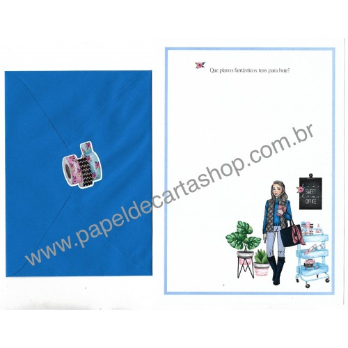 Conjunto de Papel de Carta com Envelope IT GIRLS FRASES - HELÔ