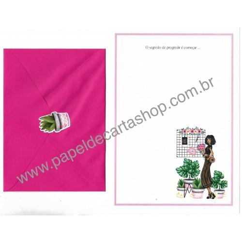Conjunto de Papel de Carta com Envelope IT GIRLS FRASES - LOUISE