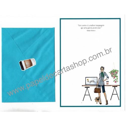Conjunto de Papel de Carta com Envelope IT GIRLS FRASES - MAITÊ