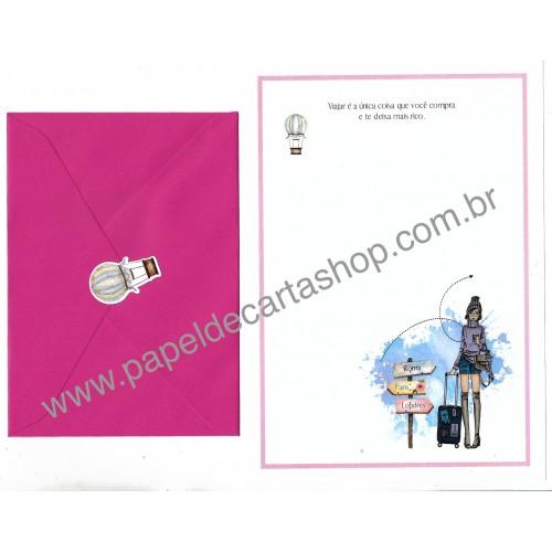 Conjunto de Papel de Carta com Envelope IT GIRLS FRASES - MALU