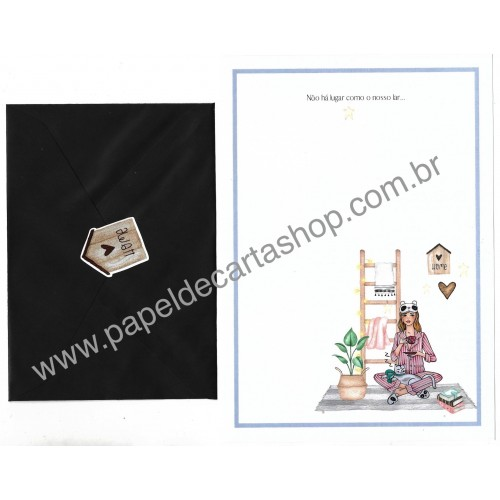 Conjunto de Papel de Carta com Envelope IT GIRLS FRASES - MELISSA