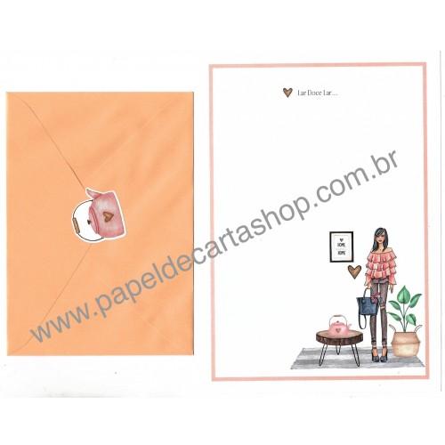 Conjunto de Papel de Carta com Envelope IT GIRLS FRASES - NINA