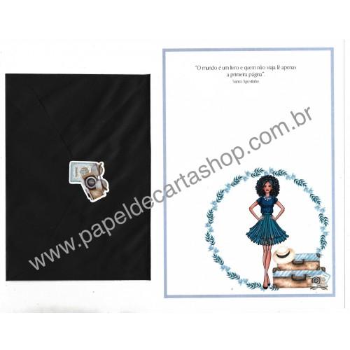 Conjunto de Papel de Carta com Envelope IT GIRLS FRASES - OLIVIA