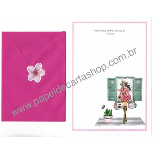 Conjunto de Papel de Carta com Envelope IT GIRLS FRASES - RACHEL