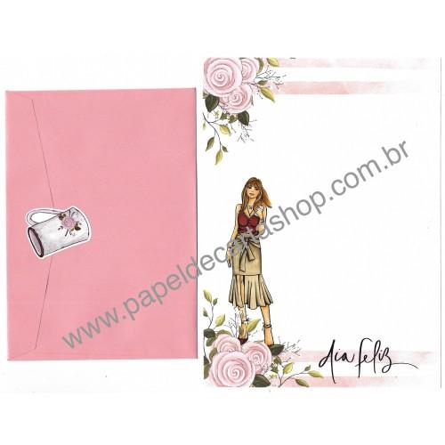 Conjunto de Papel de Carta com Envelope IT GIRLS FLOWERS - BETA