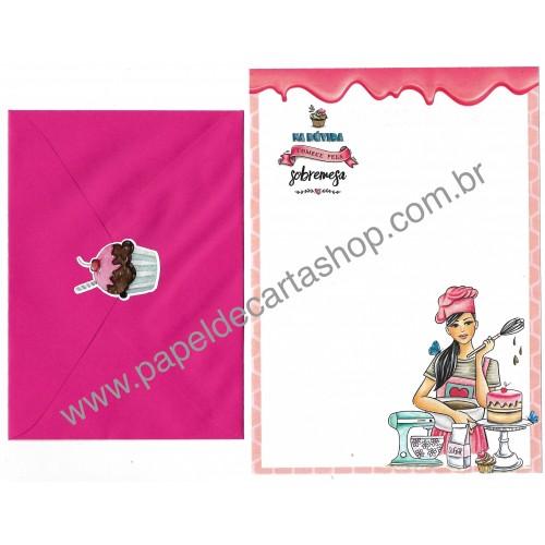 Conjunto de Papel de Carta com Envelope IT GIRLS FLOWERS - BIA